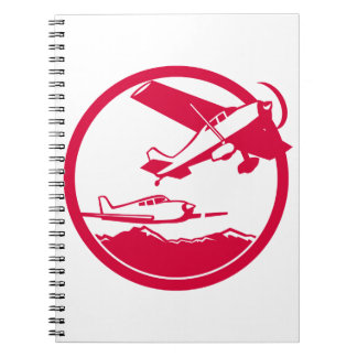 Fixed Wing Aircraft Taking Off Circle Retro Notebooks