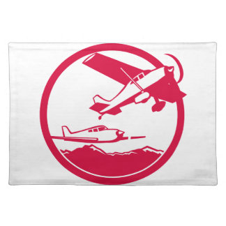 Fixed Wing Aircraft Taking Off Circle Retro Placemat