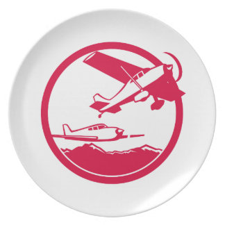 Fixed Wing Aircraft Taking Off Circle Retro Plate