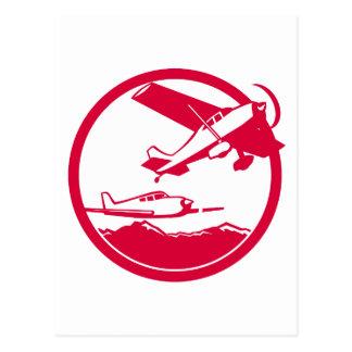 Fixed Wing Aircraft Taking Off Circle Retro Postcard