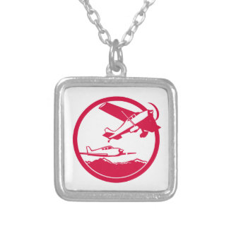 Fixed Wing Aircraft Taking Off Circle Retro Silver Plated Necklace