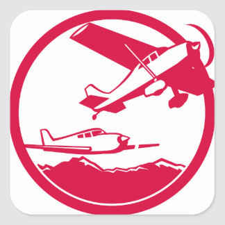 Fixed Wing Aircraft Taking Off Circle Retro Square Sticker