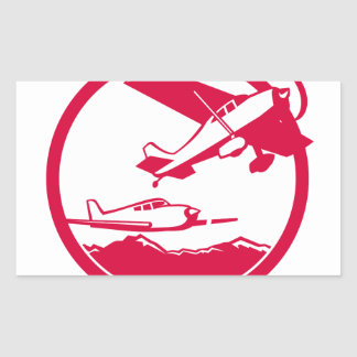 Fixed Wing Aircraft Taking Off Circle Retro Sticker