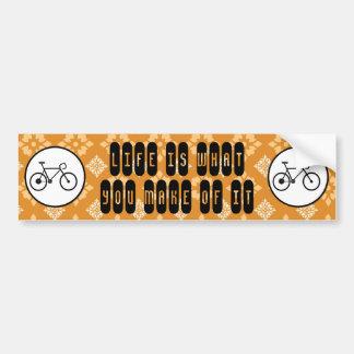 Fixie Bike Fixed Gear Bicycle on Orange Pattern Bumper Sticker