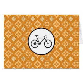 Fixie Bike Fixed Gear Bicycle on Orange Pattern Card