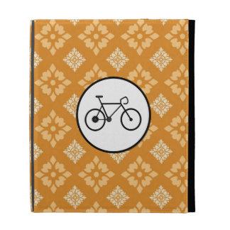 Fixie Bike Fixed Gear Bicycle on Orange Pattern iPad Folio Cases