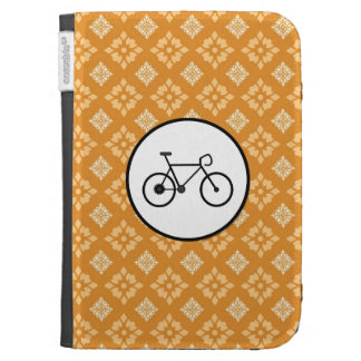 Fixie Bike Fixed Gear Bicycle on Orange Pattern Case For Kindle
