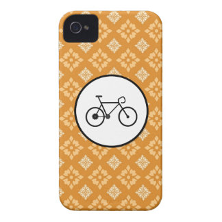 Fixie Bike Fixed Gear Bicycle on Orange Pattern Case-Mate iPhone 4 Cases