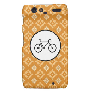 Fixie Bike Fixed Gear Bicycle on Orange Pattern Droid RAZR Case