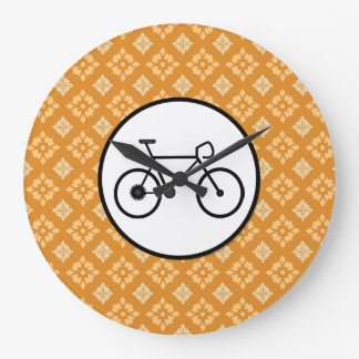 Fixie Bike Fixed Gear Bicycle on Orange Pattern Round Wallclocks