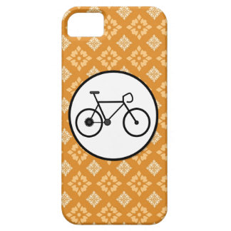 Fixie Bike Fixed Gear Bicycle on Orange Pattern iPhone 5 Case