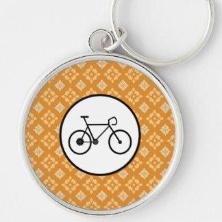 Fixie Bike Fixed Gear Bicycle on Orange Pattern Keychains