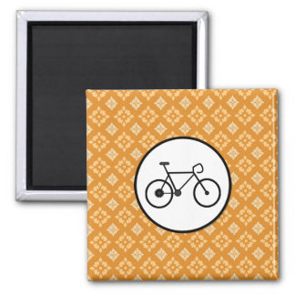 Fixie Bike Fixed Gear Bicycle on Orange Pattern Refrigerator Magnets
