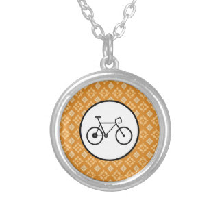 Fixie Bike Fixed Gear Bicycle on Orange Pattern Pendants