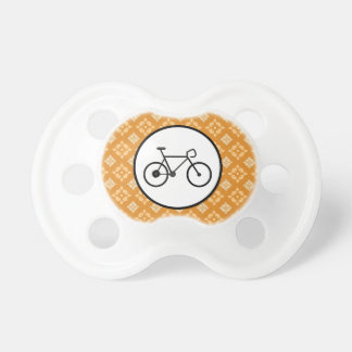 Fixie Bike Fixed Gear Bicycle on Orange Pattern Pacifiers