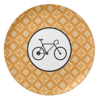 Fixie Bike Fixed Gear Bicycle on Orange Pattern Plate