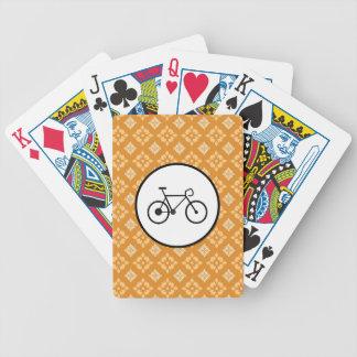 Fixie Bike Fixed Gear Bicycle on Orange Pattern Poker Deck