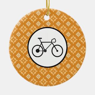 Fixie Bike Fixed Gear Bicycle on Orange Pattern Round Ceramic Ornament