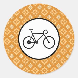 Fixie Bike Fixed Gear Bicycle on Orange Pattern Round Sticker