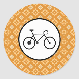 Fixie Bike Fixed Gear Bicycle on Orange Pattern Classic Round Sticker
