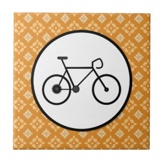 Fixie Bike Fixed Gear Bicycle on Orange Pattern Tiles