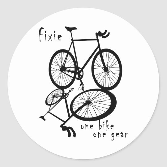 Fixie - one bike one gear classic round sticker