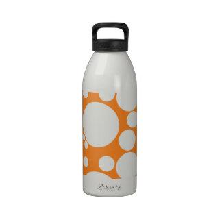 Fizzy Bubble Polka Dots On Orange Water Bottles