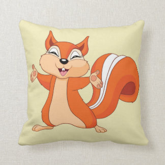Fizzy the Playful Squirrel Throw Pillow