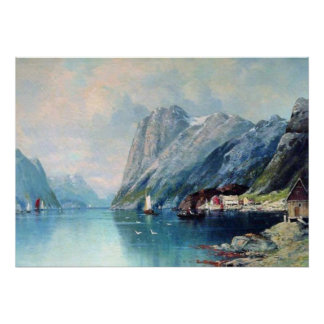 Fjord in Norway painting by Lev Lagorio Poster
