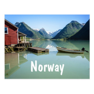 Fjord landscape in Norway text postcard