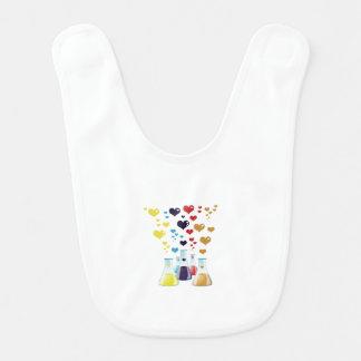 Flacon de chimie, coeurs - pourpre jaune bleu bavoir de bébé
