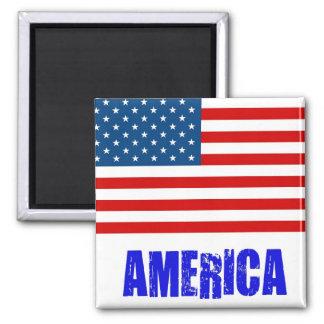 Flag America Square Magnet