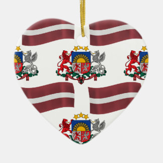 Flag and Crest of Latvia Ceramic Ornament