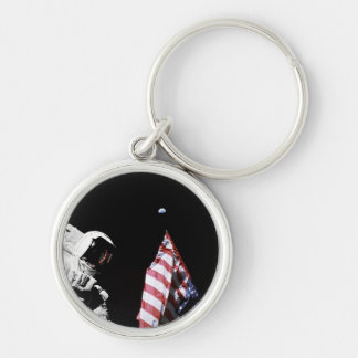 Flag and Earth Silver-Colored Round Keychain