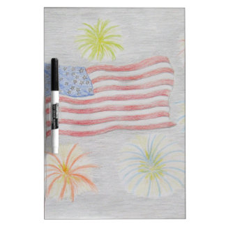 flag and fireworks dry erase whiteboards