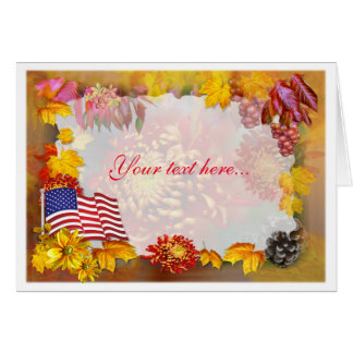 Flag and flowers   ~ Thanksgiving Card