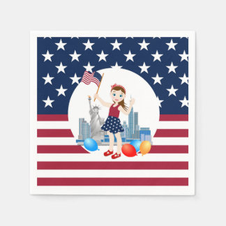 Flag and Liberty July 4th  Girl birthday party Paper Napkins