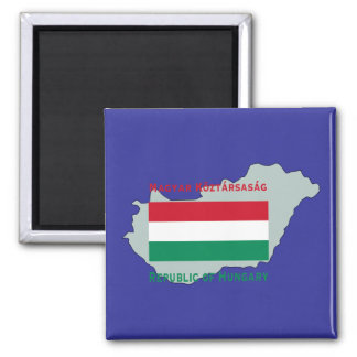Flag and Map Hungary Magnet