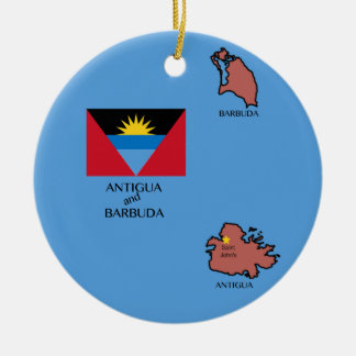 Flag and Map of Antigua and Barbuda Ceramic Ornament