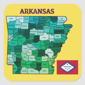 Flag and Map of Arkansas Square Sticker