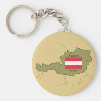 Flag and Map of  Austria Keychain