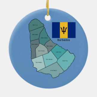 Flag and Map of Barbados Ceramic Ornament