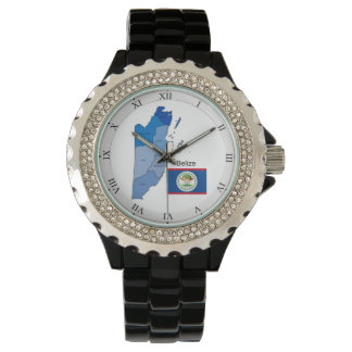 Flag and Map of Belize Watch