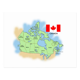 Flag and Map of Canada Postcard