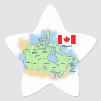 Flag and Map of Canada Star Sticker