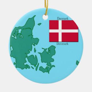 Flag and Map of Denmark Ceramic Ornament