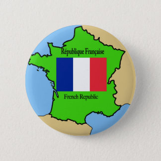 Flag and Map of France 2 Inch Round Button