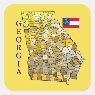Flag and Map of Georgia Square Sticker
