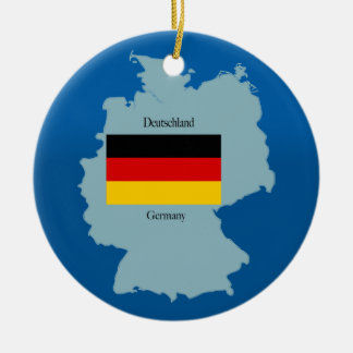 Flag and Map of Germany Ceramic Ornament