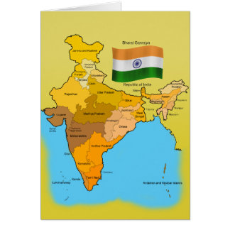 Flag and Map of India Card